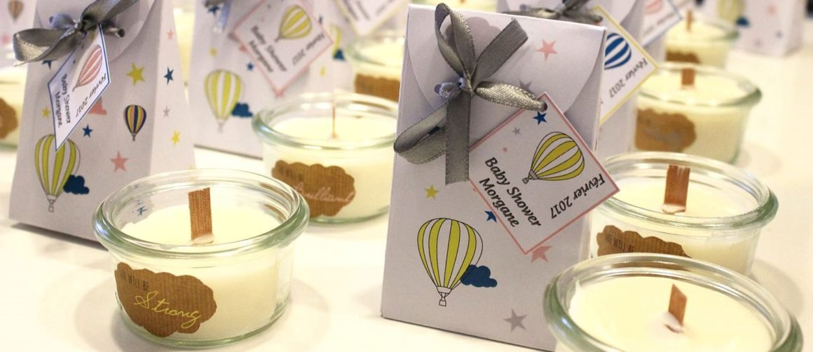 bougies maison cadeaux invités baby shower