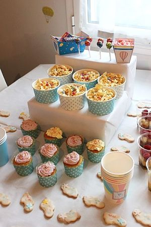 baby shower buffet bleu