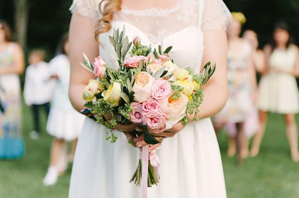 bouquet marié pastel rond