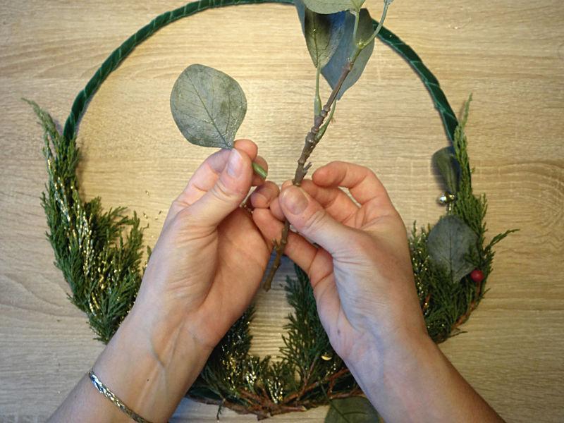 faux feuillage eucalyptus pour couronne de noël