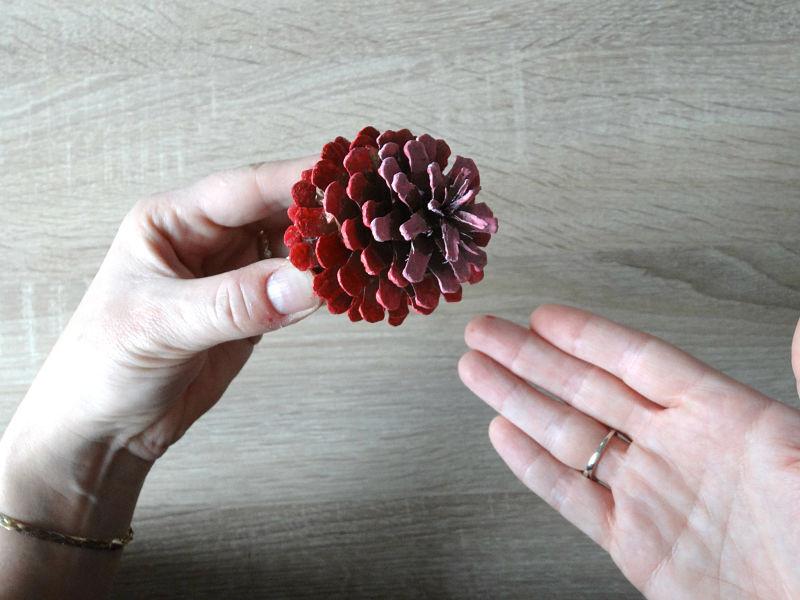 pomme de pin peinte en rouge dégradé
