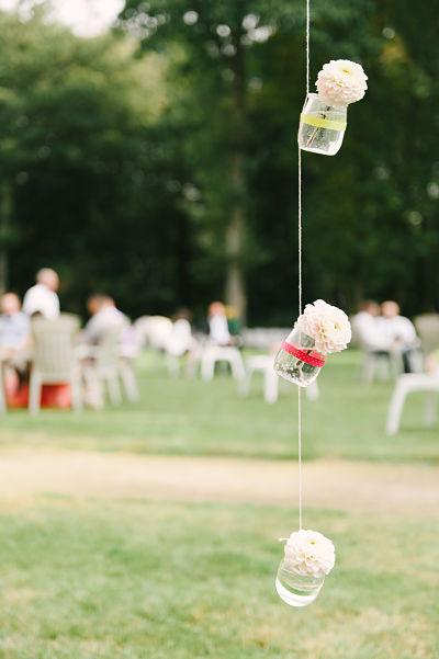suspension fleur mariage DIY