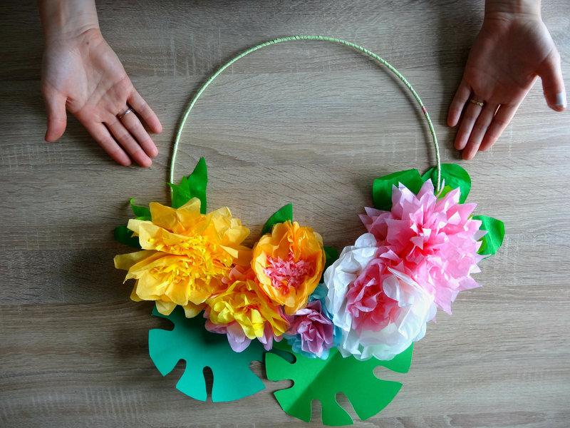 DIY décoration tropicale fleurs en papier